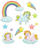 Cute magic pegasus fairy tale illustration set Royalty Free Stock Images