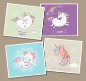 Cute magic unicon and rainbow greeting cards Stock Image