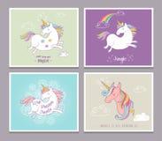 Cute magic unicon and rainbow greeting cards Stock Photo