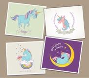 Cute magic unicon and rainbow greeting cards Stock Photos