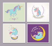 Cute magic unicon and rainbow greeting cards Stock Images
