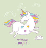 Cute magic unicon and rainbow poster, card Stock Images