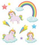 Cute magic unicorn fairy tale illustration set Stock Photo
