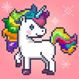 Cute magic unicorn, pixel art Stock Photography