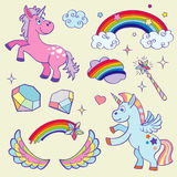 Cute magic unicorn, rainbow, fairy wings, wand stars and crystals vector set Royalty Free Stock Image
