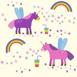 Cute magic with unicorns and rainbows, a child`s drawing. Unicorn magic. Happy cute unicorn in front of rainbow. Vector illustration Royalty Free Stock Photos