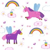 Cute magic with unicorns and rainbows on white background, picture of the child. Isolated elements Stock Images