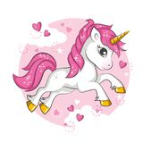 Little pink unicorn. Stock Photos