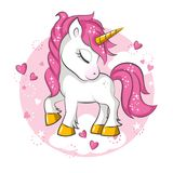 Little pink unicorn. Royalty Free Stock Images