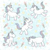 Cute magical unicorns stock illustration