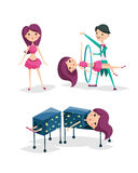 Cute magician character tricks vector illustration magic show cartoon man wizard circus Royalty Free Stock Photography