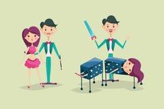 Cute magician character tricks vector illustration magic show cartoon man wizard circus Stock Photos