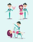 Cute magician character tricks vector illustration magic show cartoon man wizard circus stock illustration
