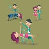 Cute magician character tricks vector illustration magic show cartoon man wizard circus Stock Photography