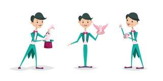 Cute magician character tricks vector illustration magic show cartoon man wizard circus royalty free illustration