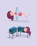 Cute magician character tricks vector illustration magic show cartoon woman wizard circus vector illustration