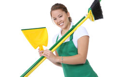 Cute Maid With Broom and Cleaning Supplies Stock Photos