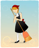 Cute maid with broomstick Royalty Free Stock Photos