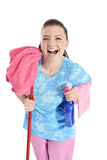 Cute Maid With Cleaning Supplies Royalty Free Stock Photos