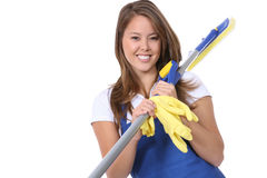 Cute Maid With Mop Royalty Free Stock Photo