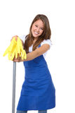 Cute Maid With Mop. A cute maid cleaner with mop and gloves stock photo