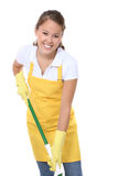 Cute Maid With Mop. A cute young maid with mop getting ready to clean Royalty Free Stock Photos