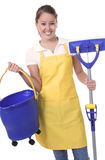 Cute Maid With Mop Royalty Free Stock Image