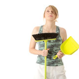 Cute maid woman cleaner. A cute maid woman cleaner with cleaning supplies and bucket royalty free stock images