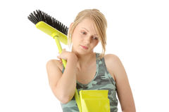Cute maid woman cleaner Stock Images