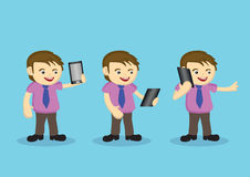 Cute Male Cartoon Character with Necktie and Wireless Digital Ta Stock Photo