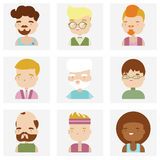 Cute male character faces flat icons vector illustration