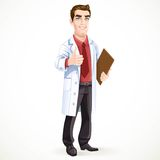 Cute male doctor in medical coat shows gesture thumbs up Royalty Free Stock Photos