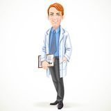 Cute male doctor in a shirt and tie and medical coat Stock Photos