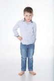 Cute male kid on white background Stock Image