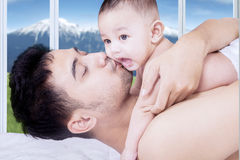 Cute male toddler with his father Stock Photo