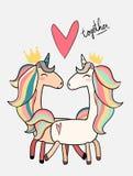 Cute male unicorn kiss female unicorn valentine card royalty free illustration