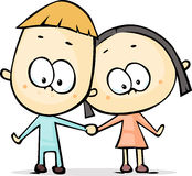 Cute Man And Woman Illustration - Isolated Stock Photo