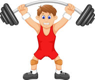 Cute man athlete doing weightlifter. Illustration of cute man athlete doing weightlifter Stock Photos