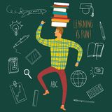 Cute man with books on his head. Cartoon boy dancing with books on his head on green background. Vector illustration about education Royalty Free Stock Photo