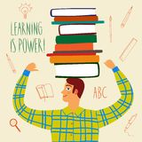 Cute man with books on his head Royalty Free Stock Photo