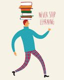 Cute man with books on his head. Cartoon boy walking with books on his head. Vector illustration about education Stock Images