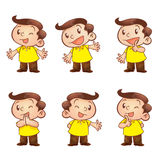 Cute man cartoon. Actions presenting Stock Photography