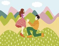 Cute man character confesses love to a woman standing on his knee royalty free illustration