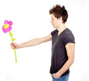 Cute man with a flower Royalty Free Stock Photos