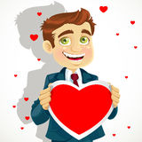 Cute man holding a valentine Royalty Free Stock Photo