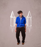 Cute man with jet pack rocket drawing illustration Stock Photography