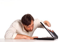 Cute man with laptop Stock Photo
