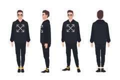 Cute man wearing hoodie and sunglasses. Stylish guy dressed in trendy clothes. Male cartoon character isolated on white stock illustration
