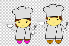 Cute man and woman chef at transparent effect background. Vector cute man and woman chef at transparent effect background Royalty Free Stock Photography