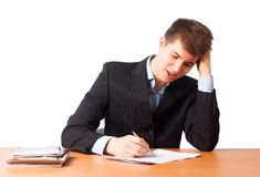 Cute man writing document. A young businessman writing document isolated on white background Stock Photo